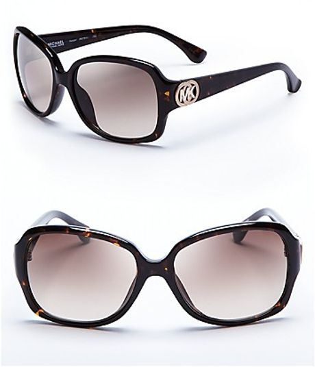 Michael Kors Square Logo Sunglasses in Black (havana) - Lyst