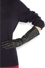 Miu Miu Studded Leather Gloves in Black - Lyst