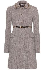 Miu Miu Wool Coat with Embellished Collar in Gray (ebano) - Lyst