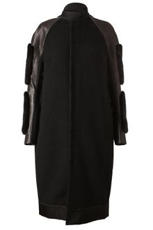 Rick Owens Leather and Wool Coat - Lyst