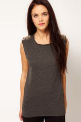 River Island Studded Shoulder Vest - Lyst