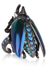 Roberto Cavalli Rutheniumplated Swarovski Crystal Scarab Beetle Ring