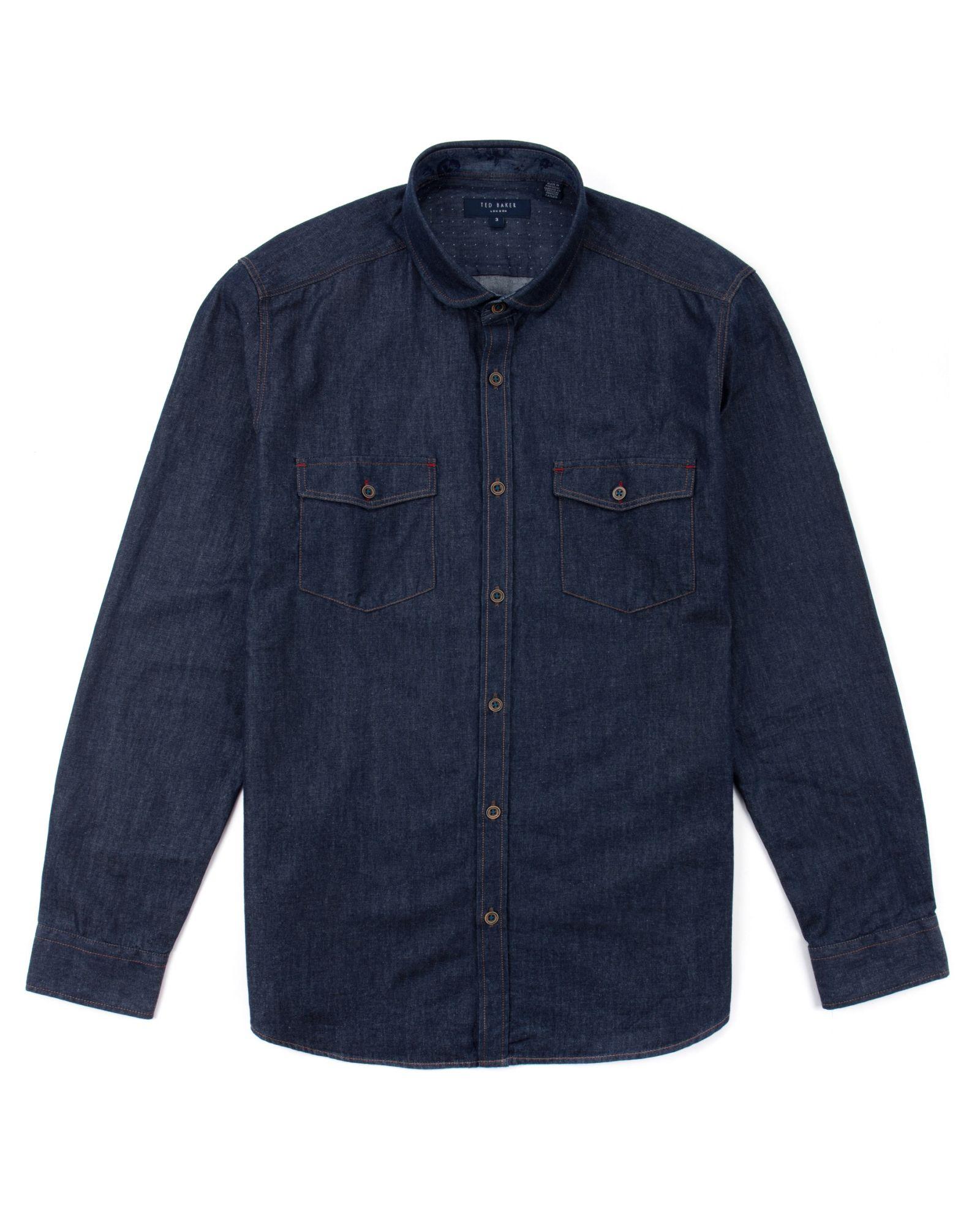 Ted baker newray round collar denim shirt in blue for men for Round collar shirt men