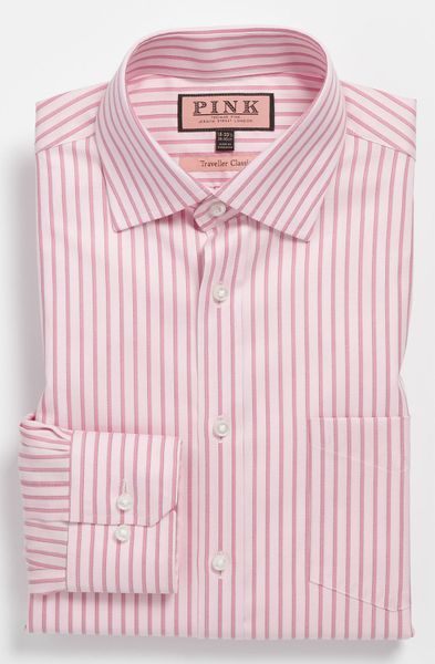 thomas pink classic fit traveller dress shirt in pink for