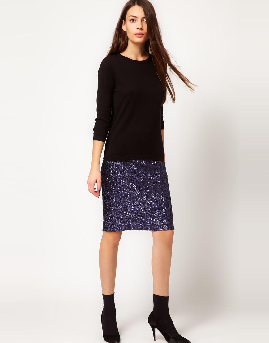 Whistles Sequin Skirt in Blue | Lyst