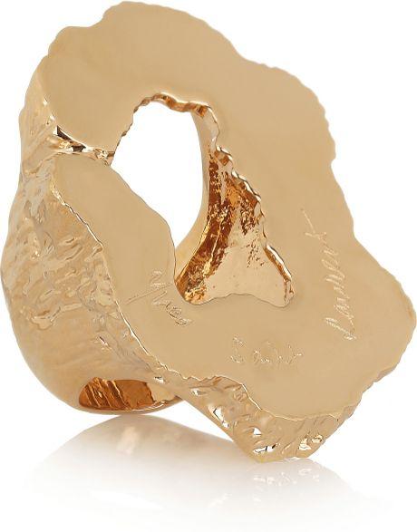 saint laurent feline large cutout goldplated ring in gold. Black Bedroom Furniture Sets. Home Design Ideas