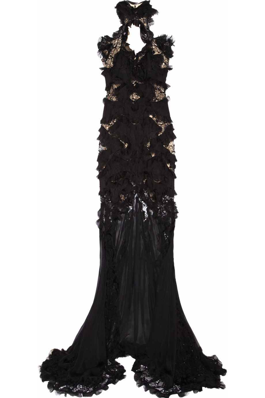 Alexander Mcqueen Embellished Silkchiffon And Lace Gown In