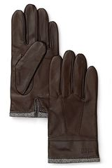Boss Black Plaid Lined Leather Gloves - Lyst