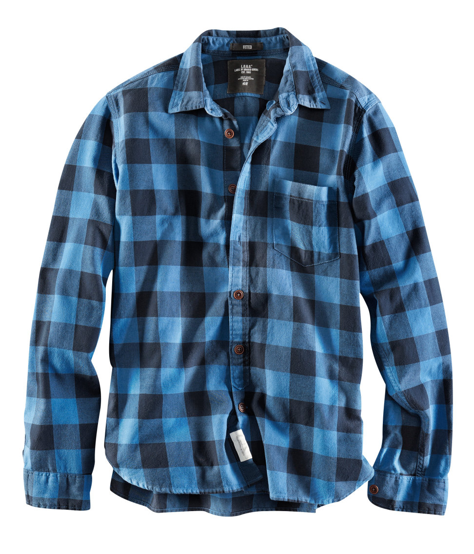 Lyst H Amp M Flannel Shirt In Blue For Men