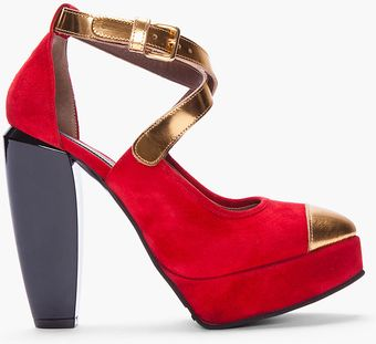 Marni Red Suede Platform Pumps - Lyst
