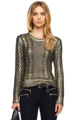 Michael by Michael Kors Foiled Fisherman Sweater - Lyst