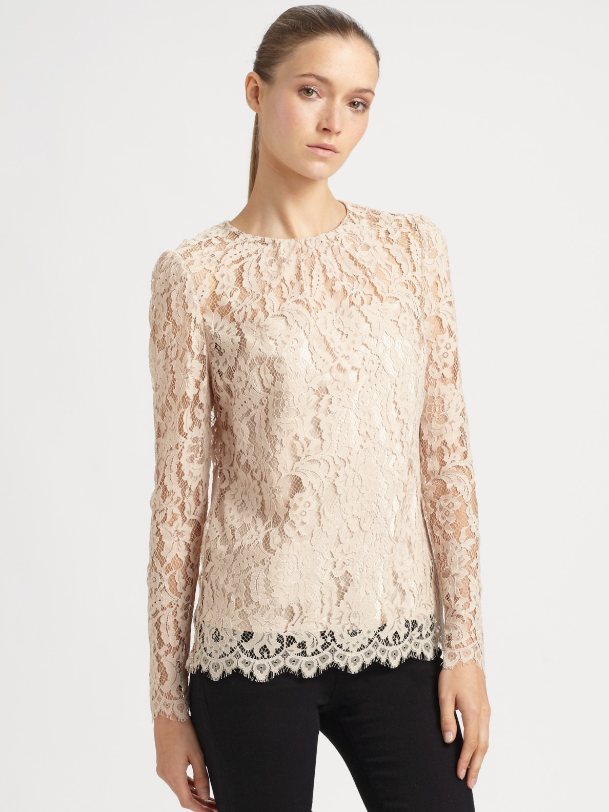 Beige Lace Blouse | Fashion Ql