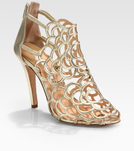 Oscar De La Renta Gladia Artistic Metallic Leather Pumps in Gold - Lyst