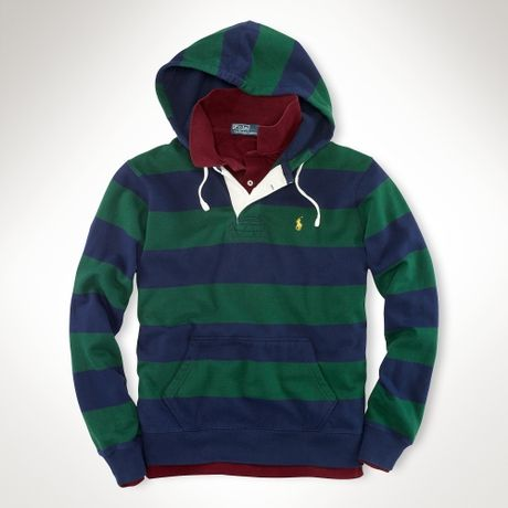 Polo Ralph Lauren Striped Fleece Pullover Hoodie in Green for Men (new