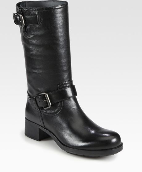 prada leather motorcycle boots in black lyst