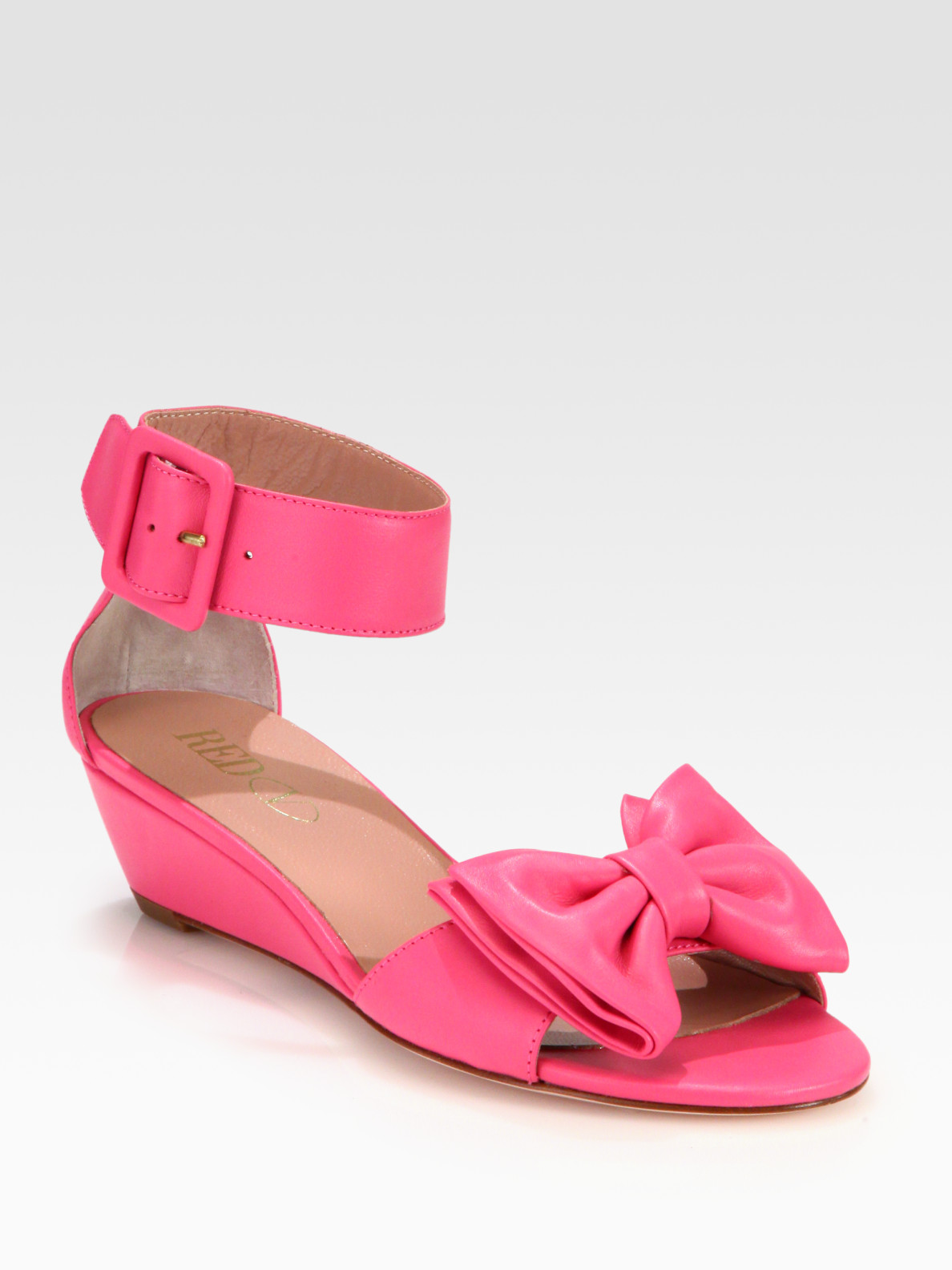 Red Valentino Leather Bow Sandals In Pink Lyst