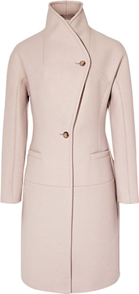 Reiss Reiss Myla Funnel Neck Coat Nude - Lyst