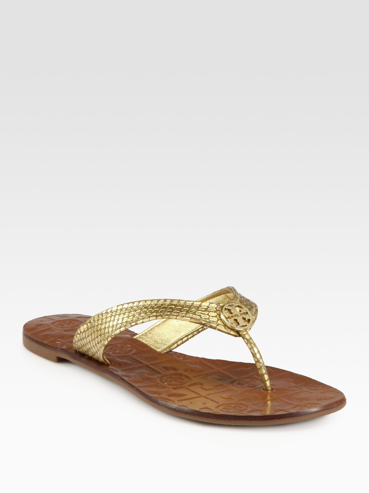 a6d596349e55e Lyst - Tory Burch Thora Metallic Snakeprint Leather Thong Sandals in ...