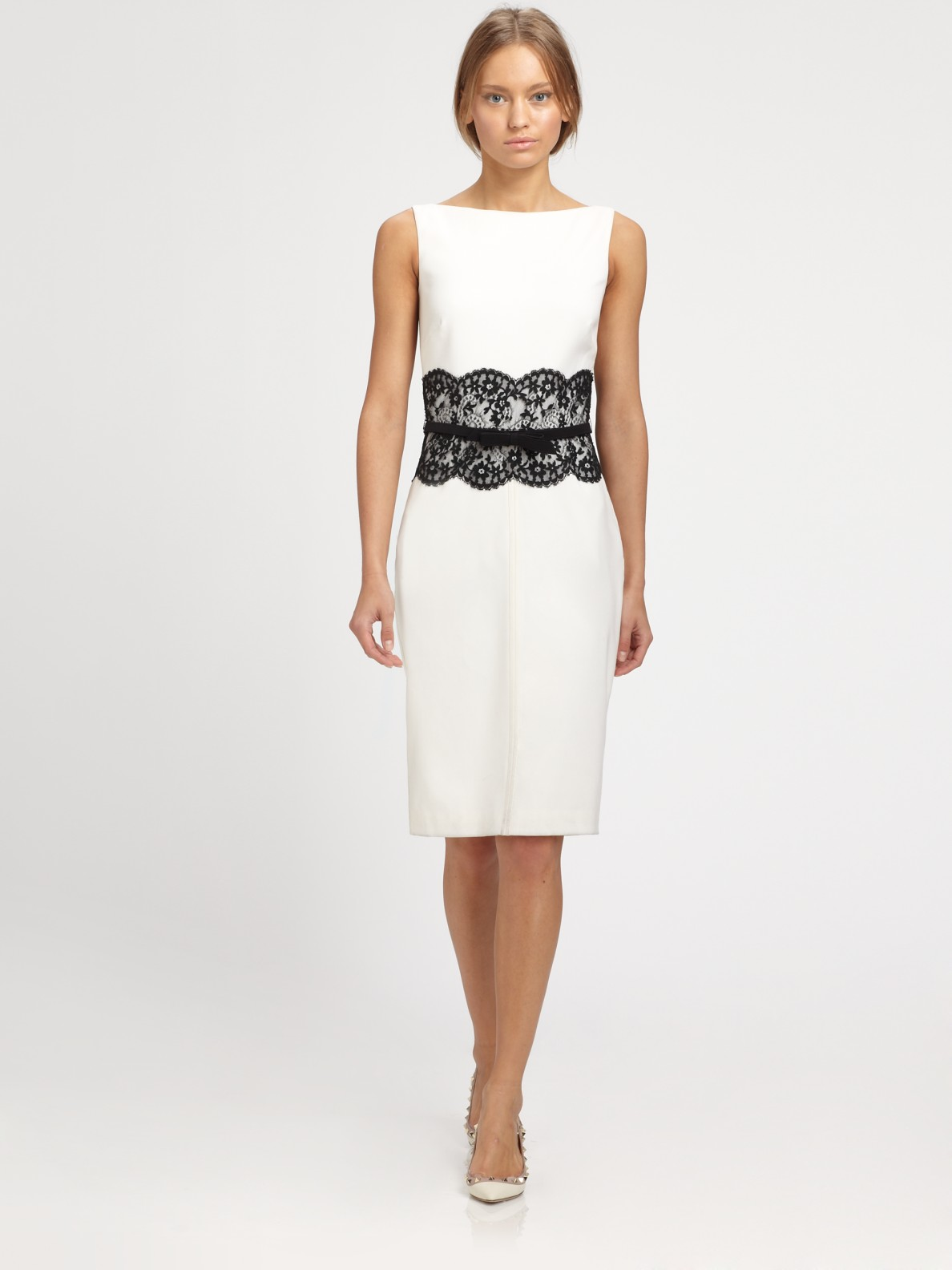 valentino lace trimmed dress in white ivory lyst