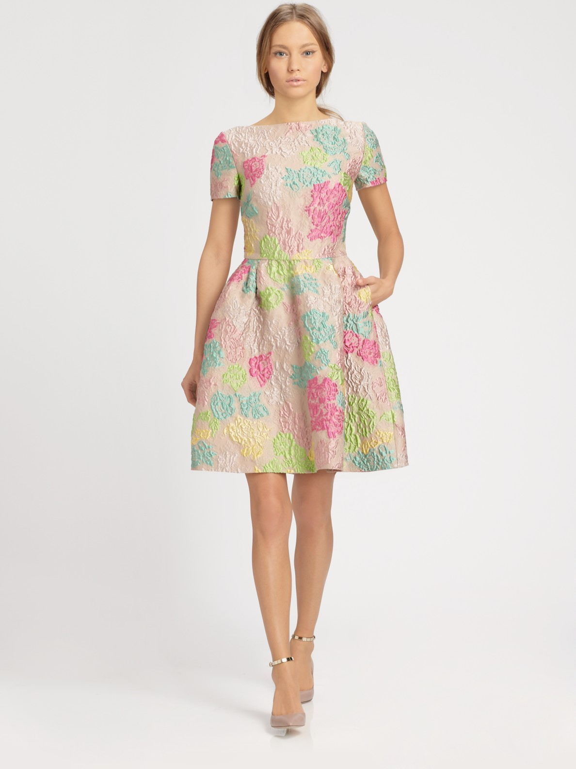 Http Www Lyst Com Clothing Valentino Jacquard Dress Multicolor