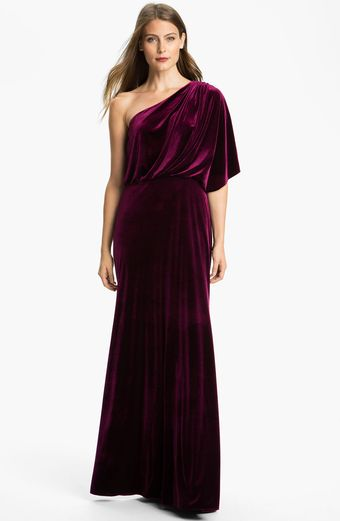 Adrianna Papell Draped One Shoulder Velvet Blouson Gown - Lyst