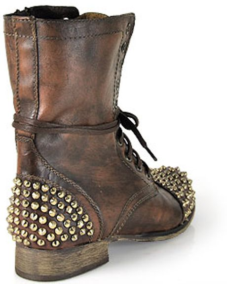 steve madden tarnney brown leather studded motorcycle boot