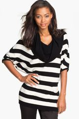 Vince Camuto Striped Cowl Neck Sweater - Lyst