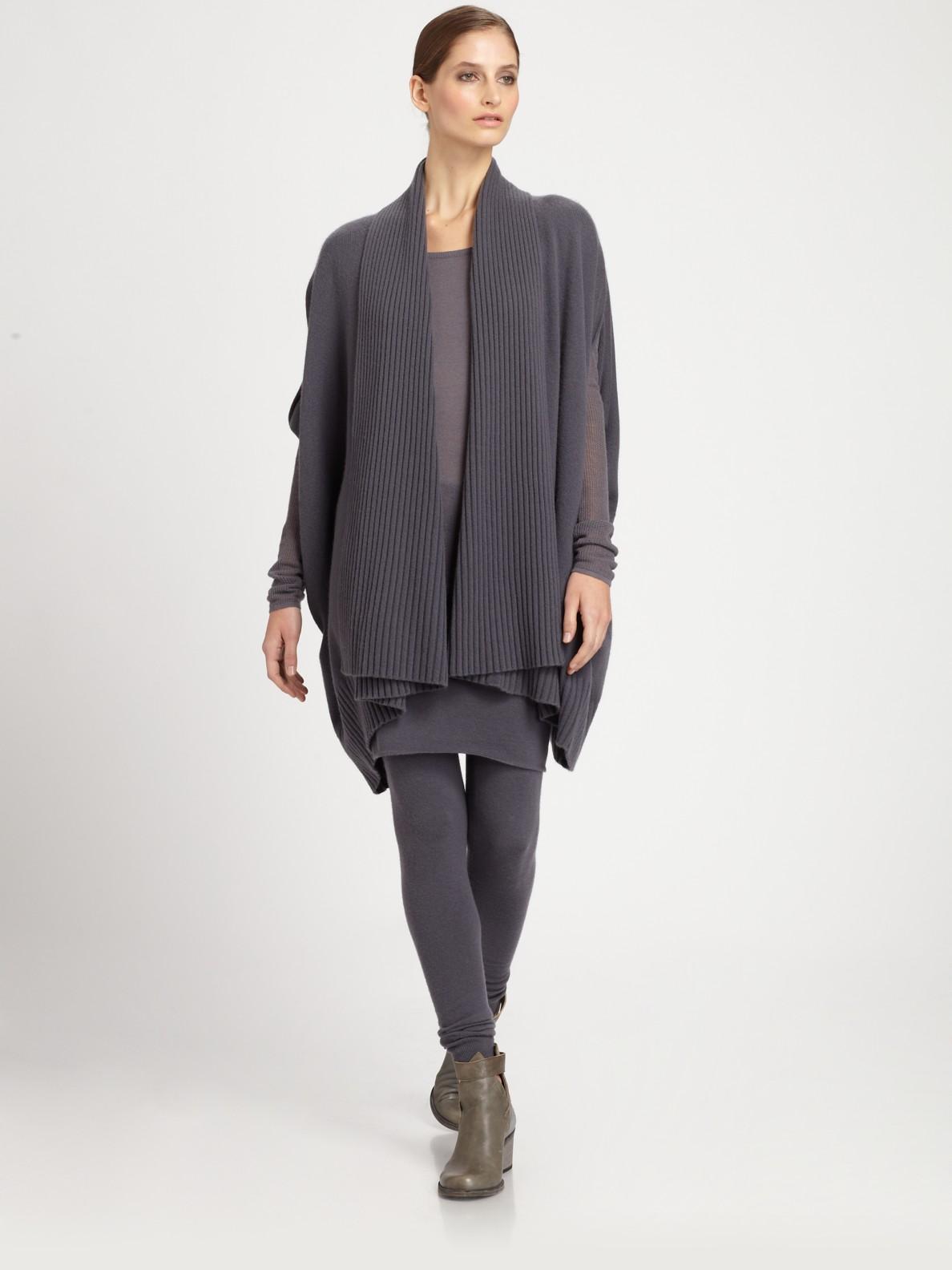 donna karan new york cashmere cardigan in gray black lyst. Black Bedroom Furniture Sets. Home Design Ideas