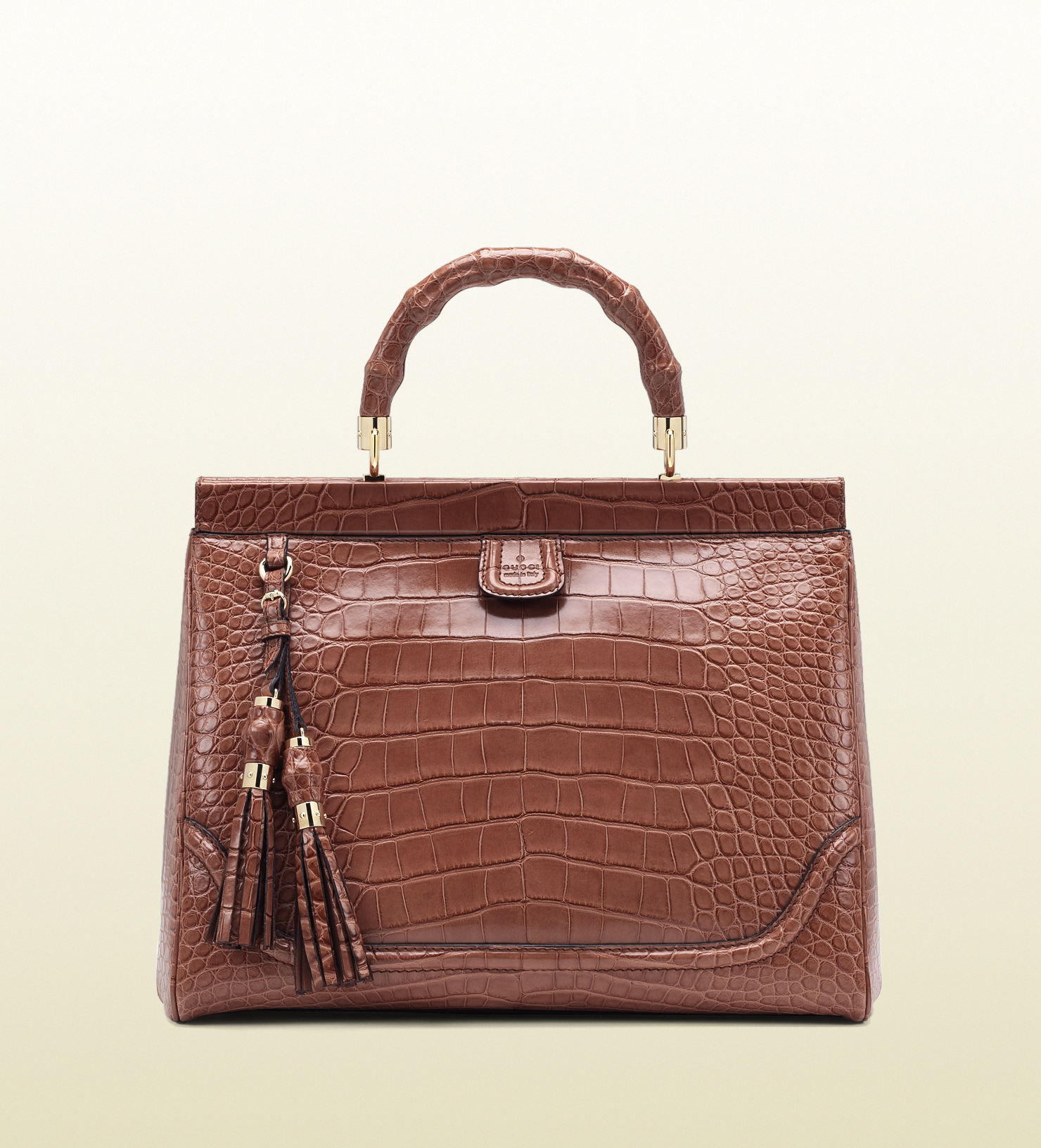 91689dd6a502 Gucci Bold Bamboo Pink Crocodile Top Handle Bag in Brown - Lyst