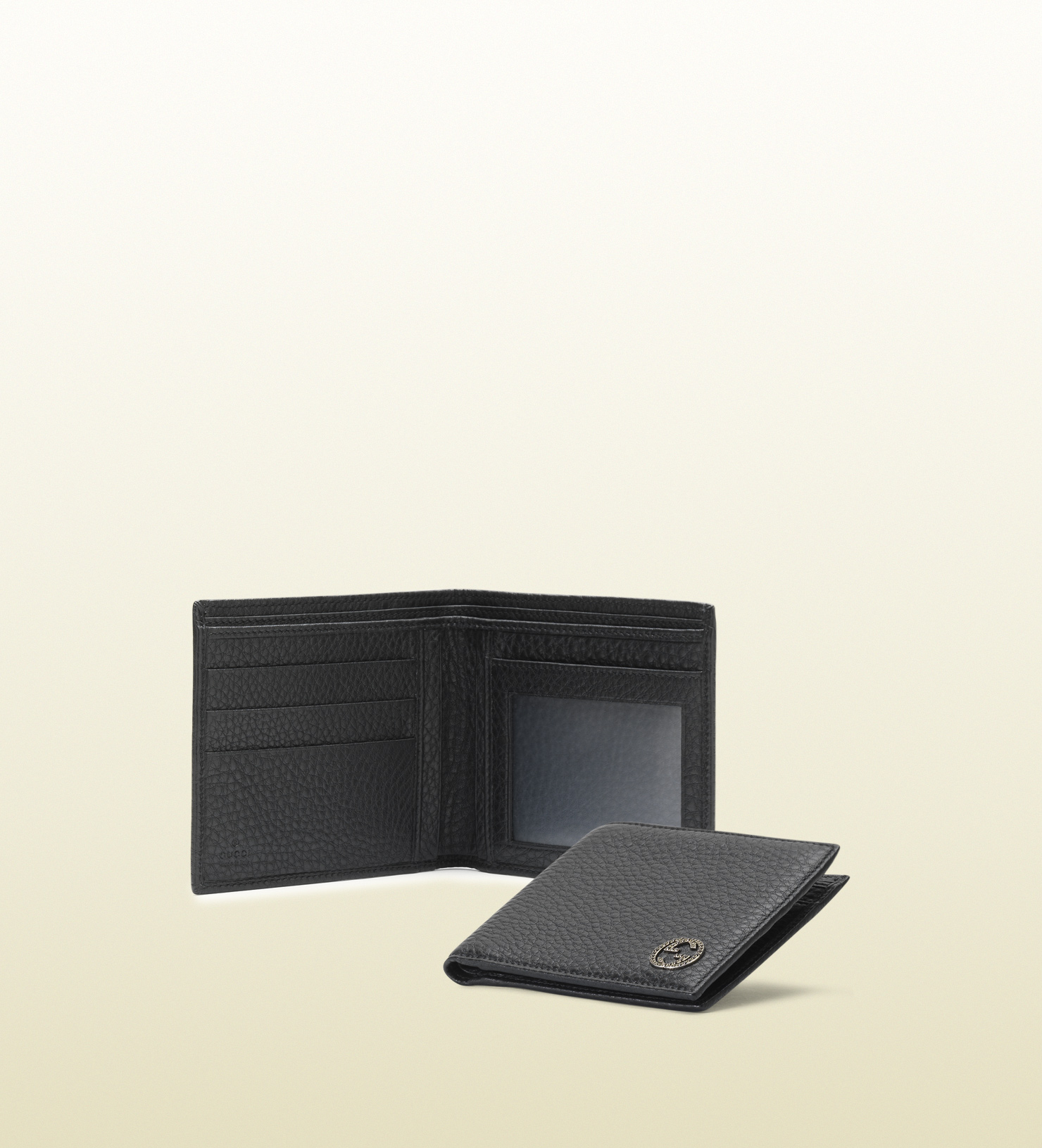 f8da0bf1ff54 Gucci Black Leather Bifold Wallet with Id Window in Black for Men - Lyst
