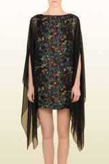 Gucci Flower Print Silk Georgette Kaftan Dress - Lyst