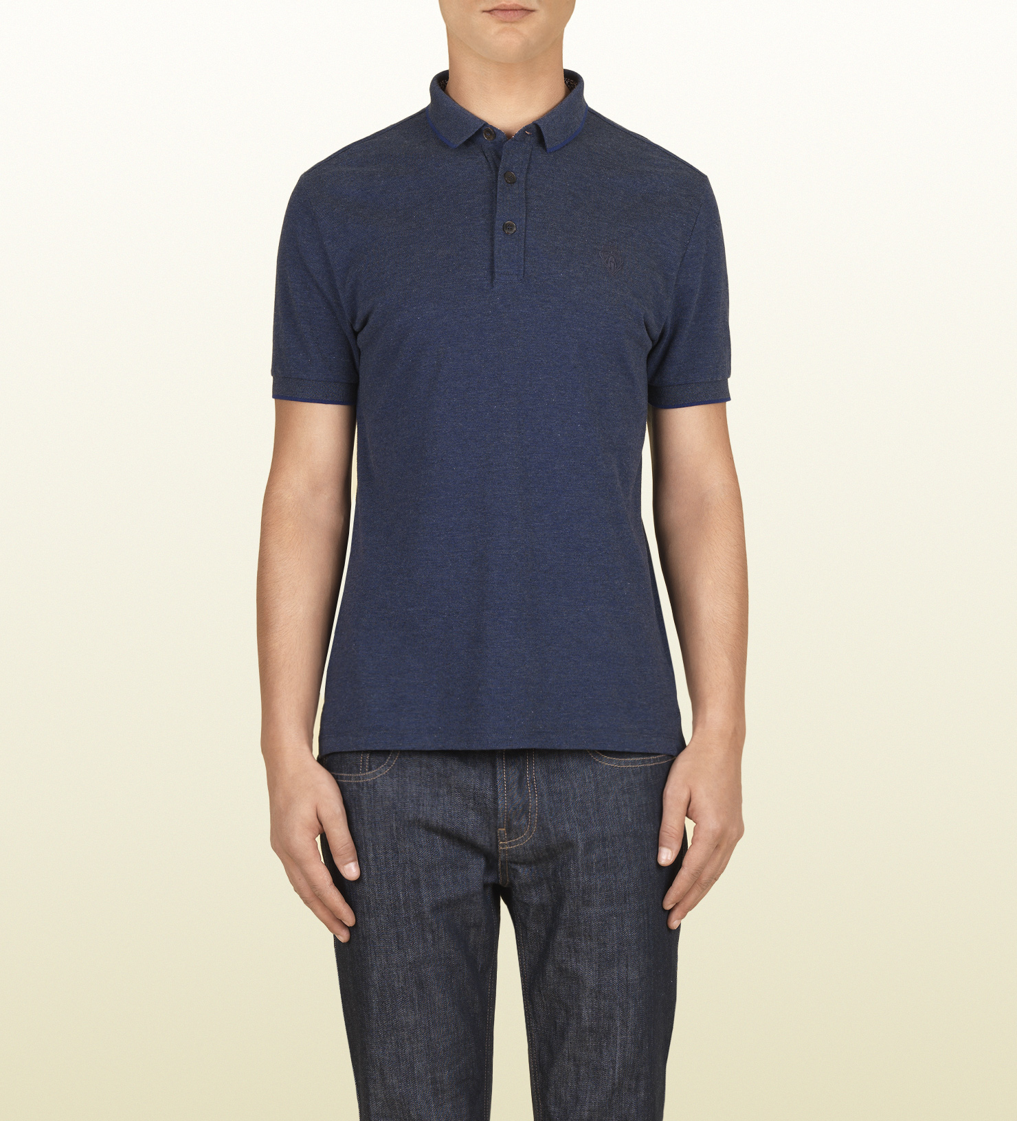Gucci Blue Cotton Linen Short Sleeve Polo In Blue For Men