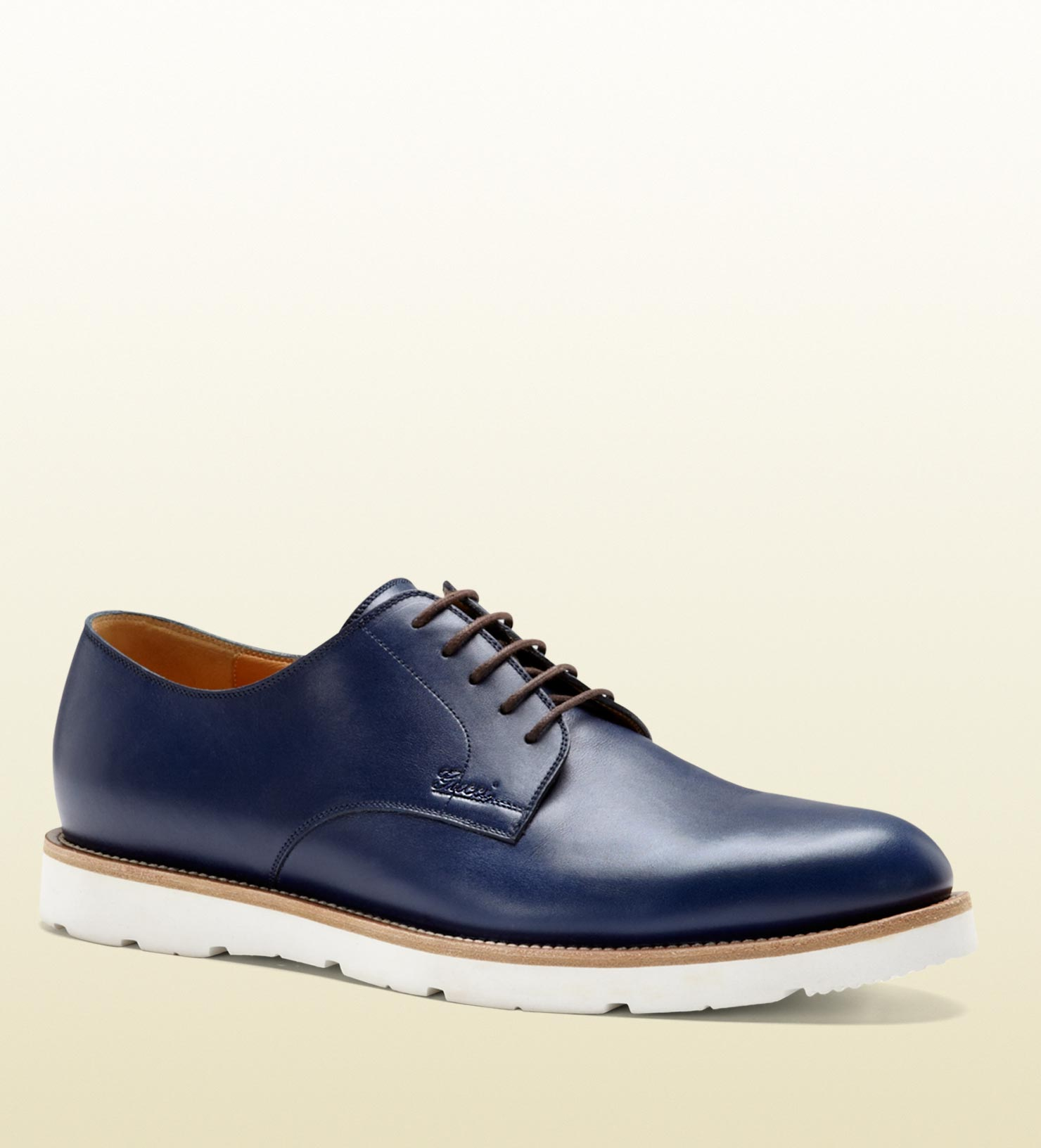 Lyst Gucci Blue Leather Laceup Shoe In Blue For Men