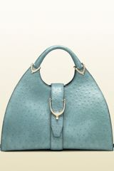 Gucci Stirrup Light Blue Ostrich Top Handle Bag - Lyst