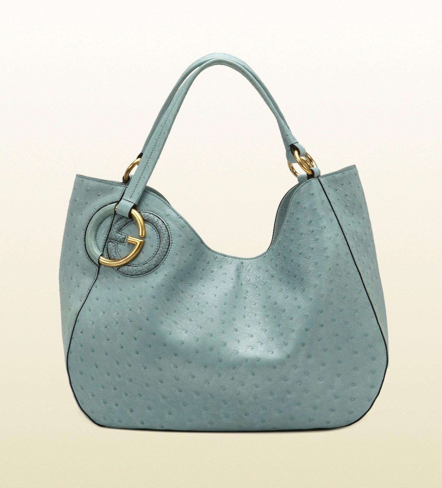 19c7b72aff88 Lyst - Gucci Twill Ostrich Shoulder Bag in Blue