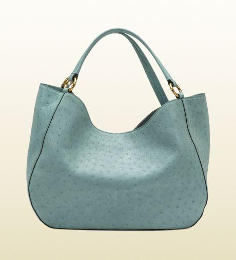 Gucci Twill Ostrich Shoulder Bag in Blue