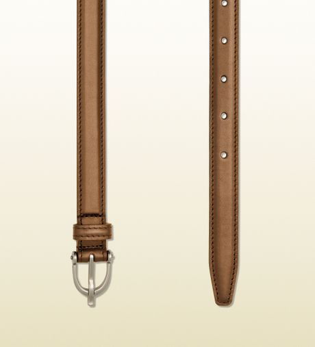 gucci maple brown leather thin belt with spur buckle in