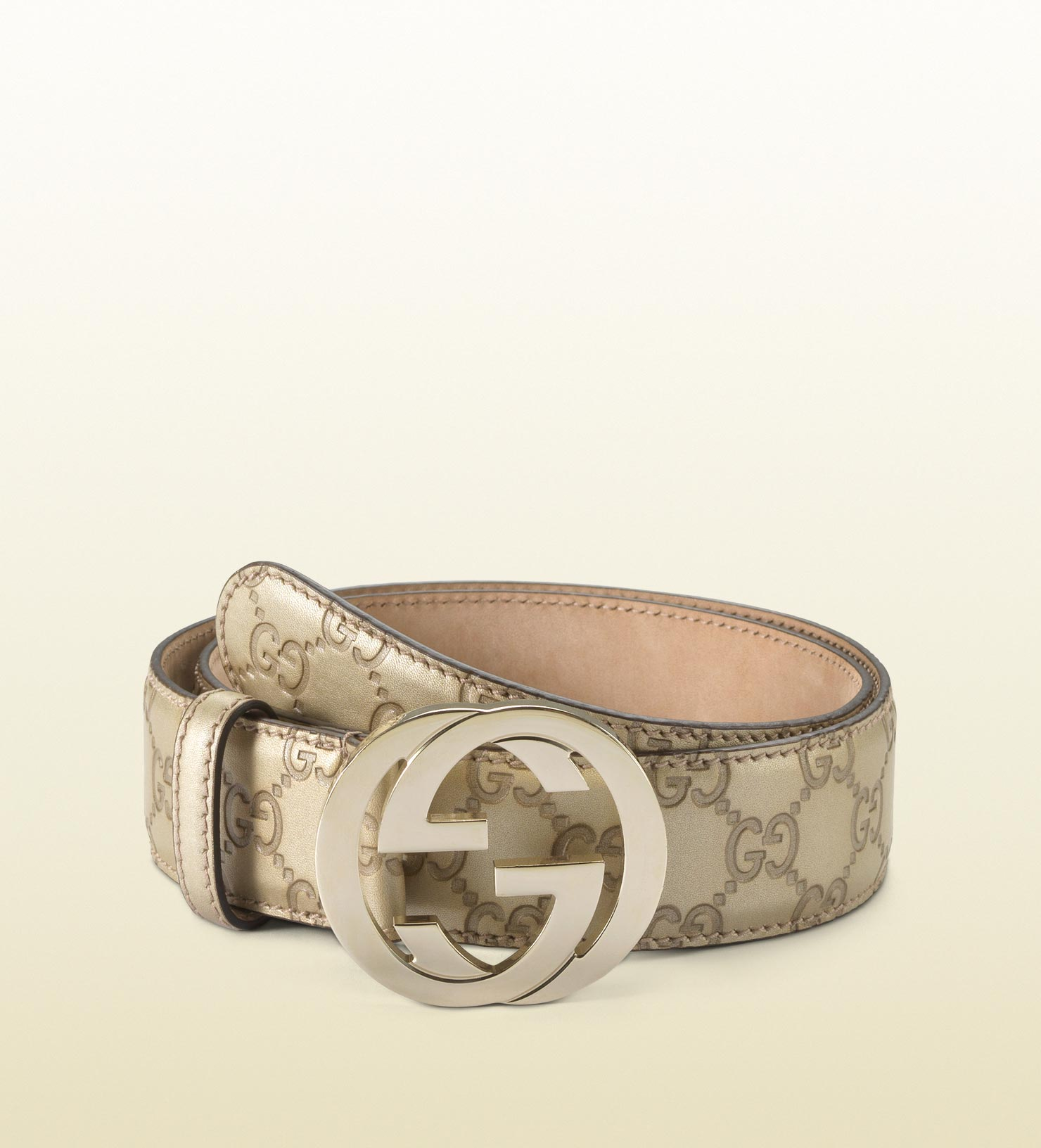 Gucci | Gold Metallic Leather Belt With Interlocking G Buckle | Lyst