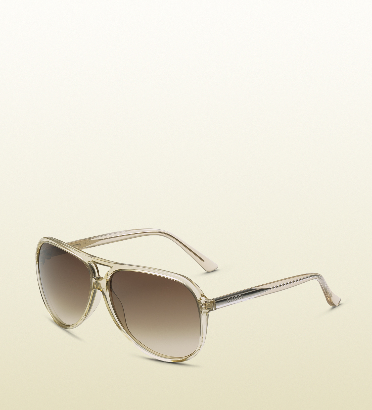 32e11b205cb Lyst - Gucci Womens Champagne Aviator Sunglasses in Brown