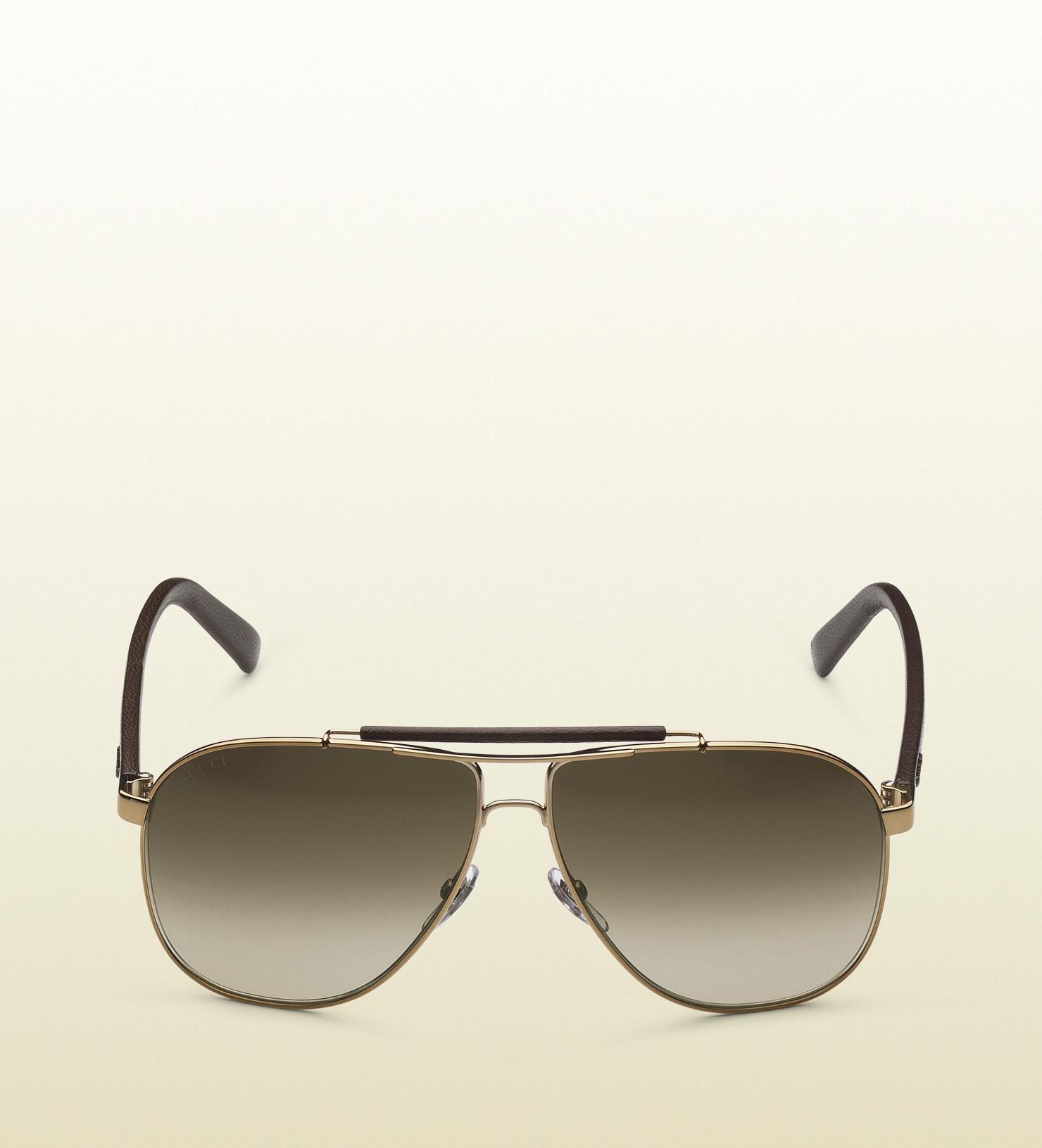 Gucci Sunglasses Leather Frame Aviator : Gucci Aviator Sunglasses with Leather Brow Bar and Temples ...
