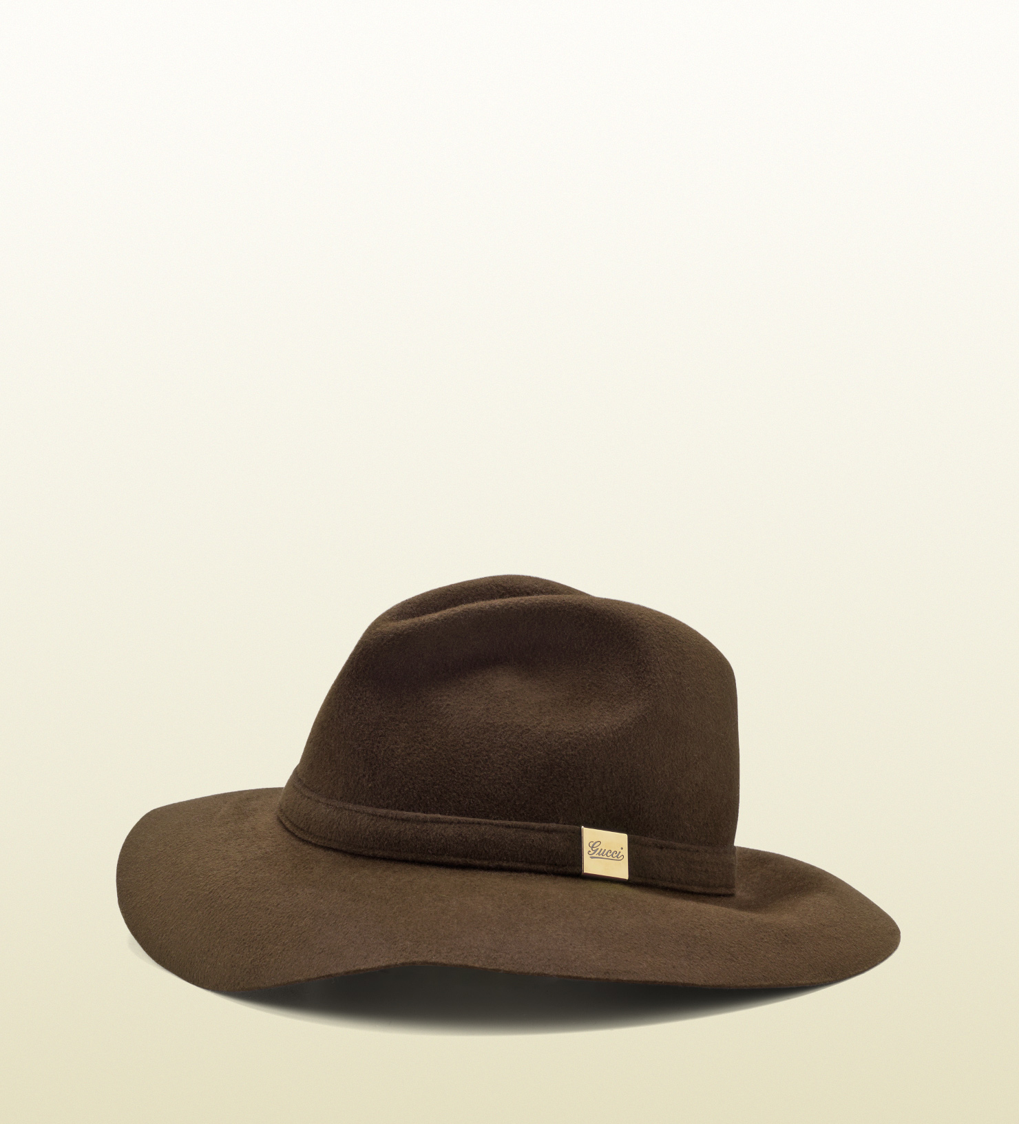 e931e49b Gucci Trilby Hat with Engraved Gucci Script Logo in Brown - Lyst