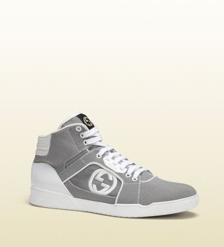gucci grey and white hightop sneaker in gray for men grey lyst. Black Bedroom Furniture Sets. Home Design Ideas