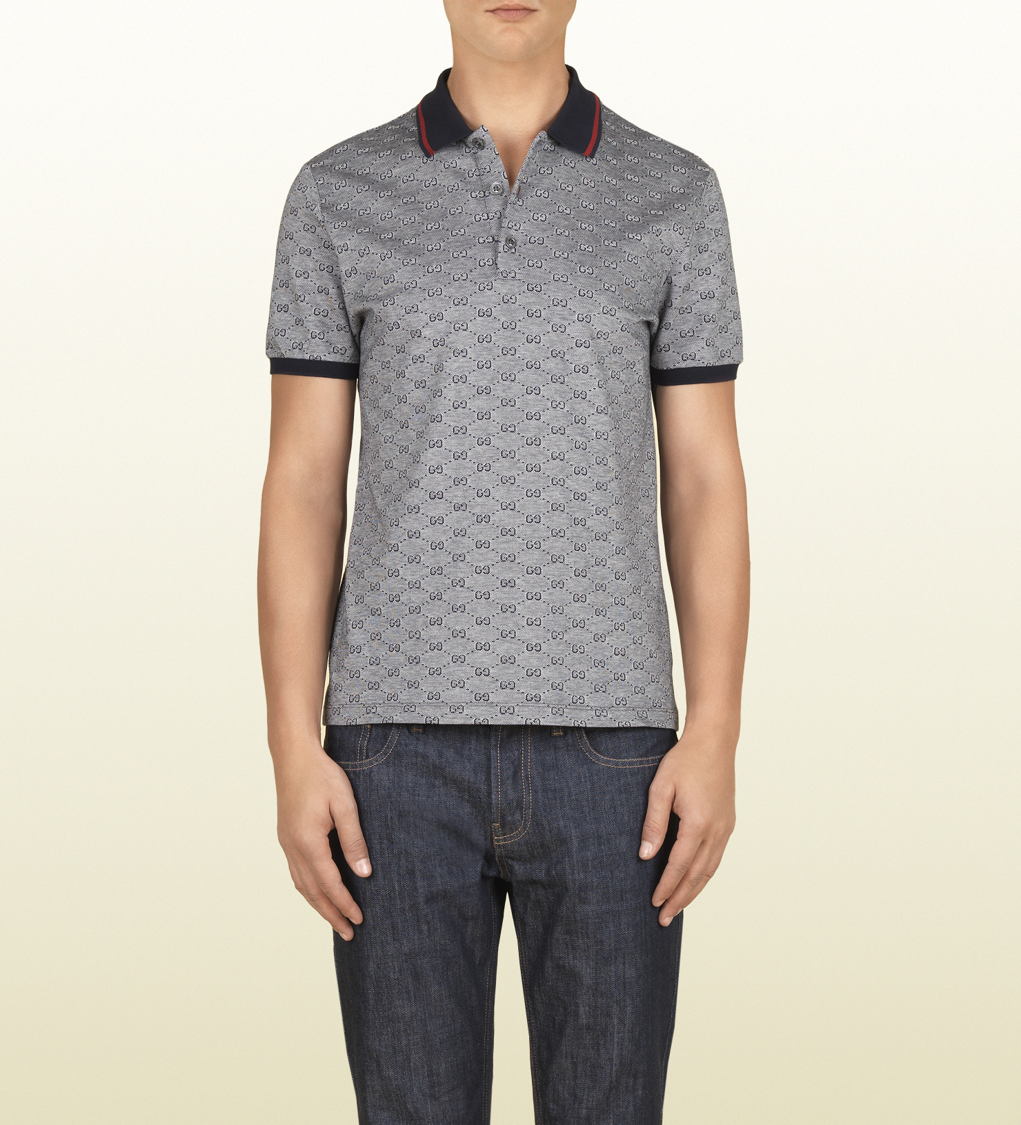 992c25a8 Gucci Ink Pique Gg Jacquard Short Sleeve Polo in Gray for Men - Lyst