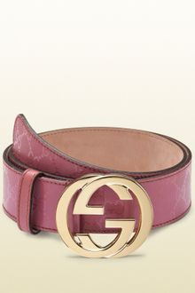 Gucci Dark Pink Gg Imprimeé Belt with Interlocking G Buckle - Lyst