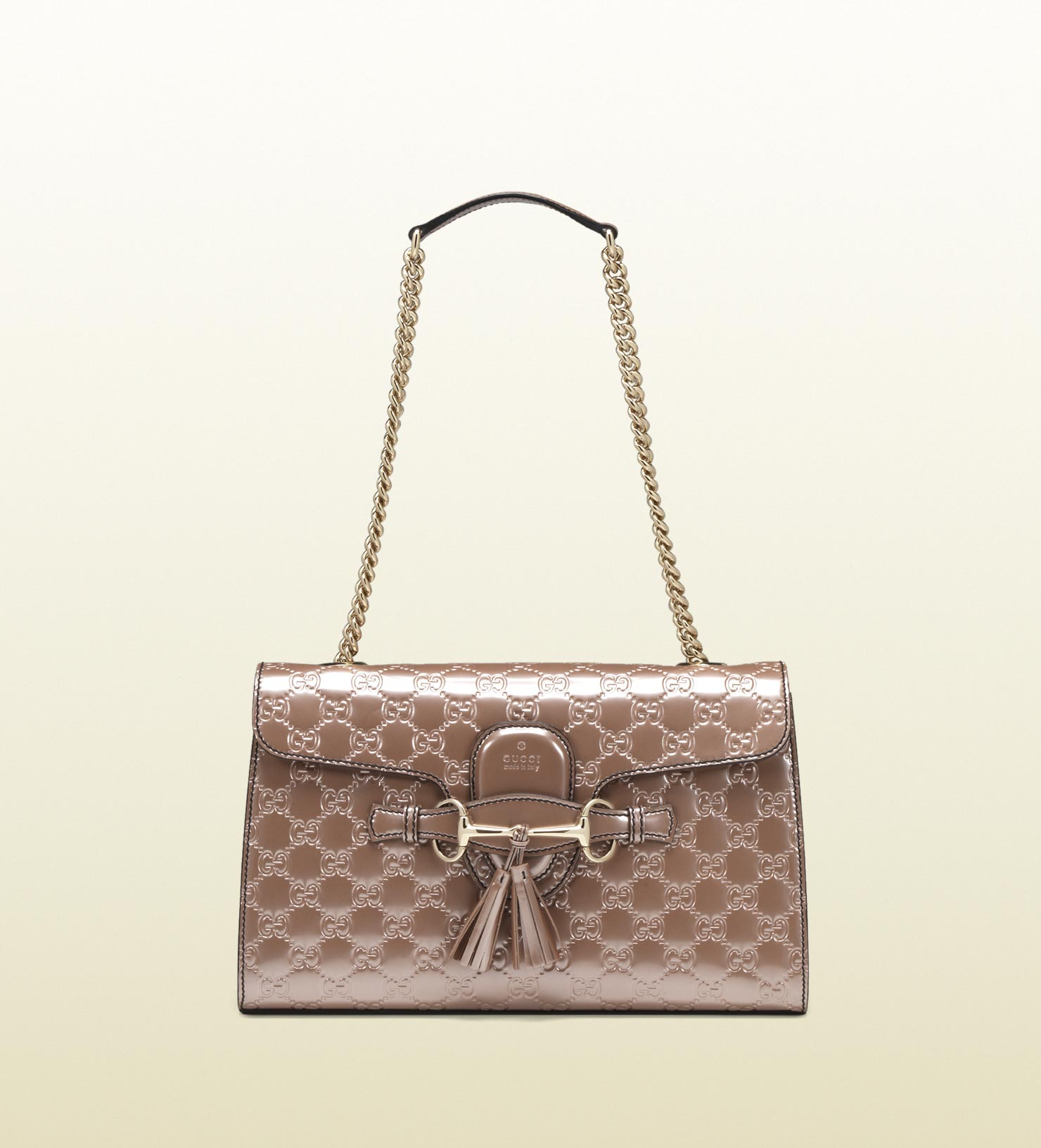 f78134ad3 Gucci Emily Light Pink Shiny Microguccissima Chain Shoulder Bag in ...