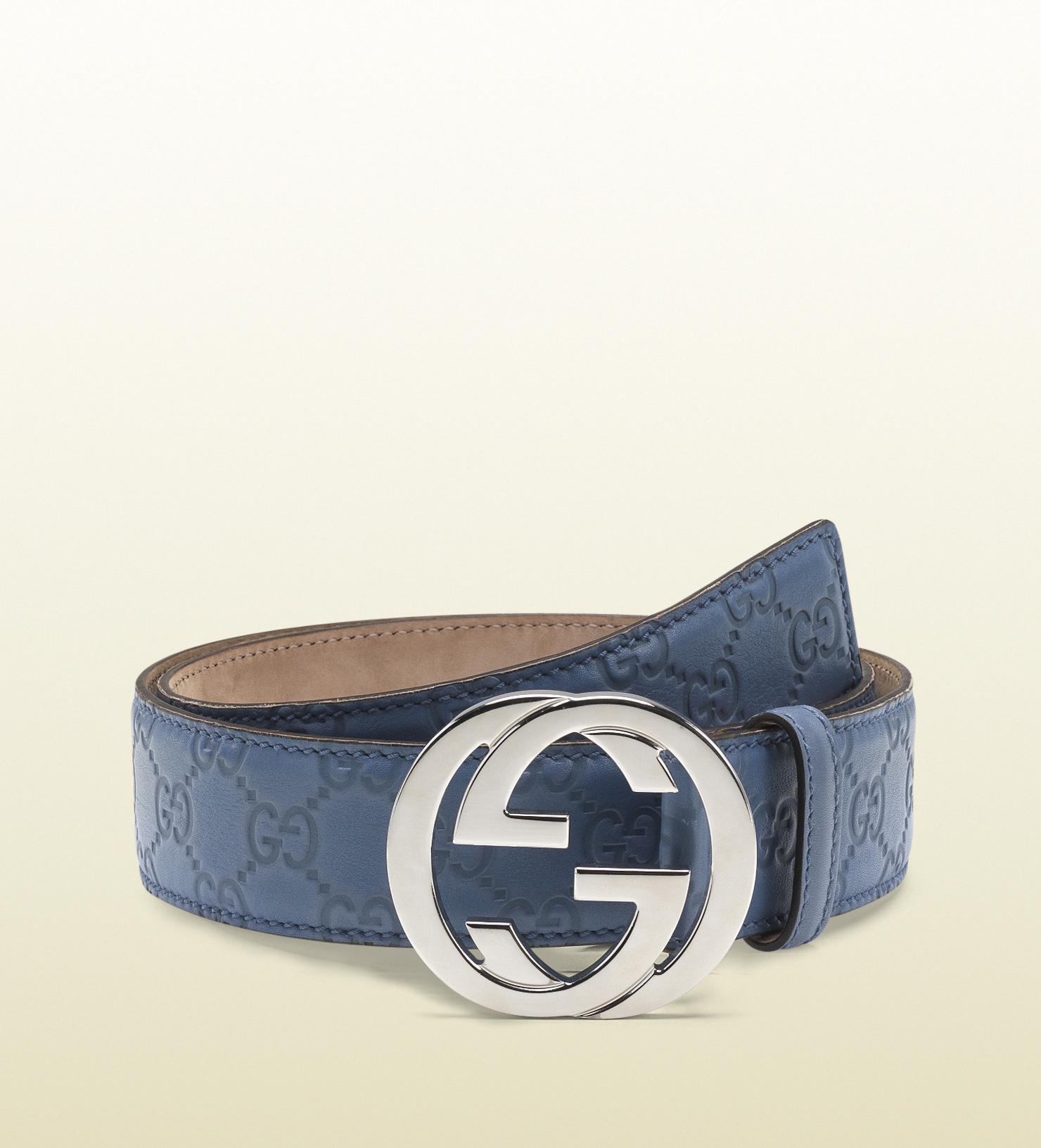 e8e34ac57b0 Lyst - Gucci Sky Blue Guccissima Leather Belt with Interlocking G ...
