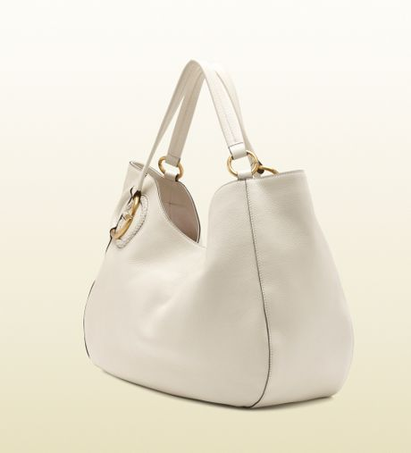 Gucci Twill Leather Large Shoulder Bag White 30