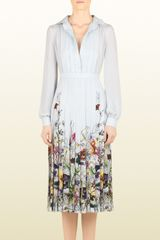 Gucci  Flora Stripe Dégradé Print Silk Georgette Dress - Lyst