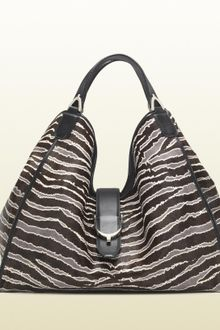 Gucci Soft Stirrup Zebra Printed Shoulder Bag - Lyst