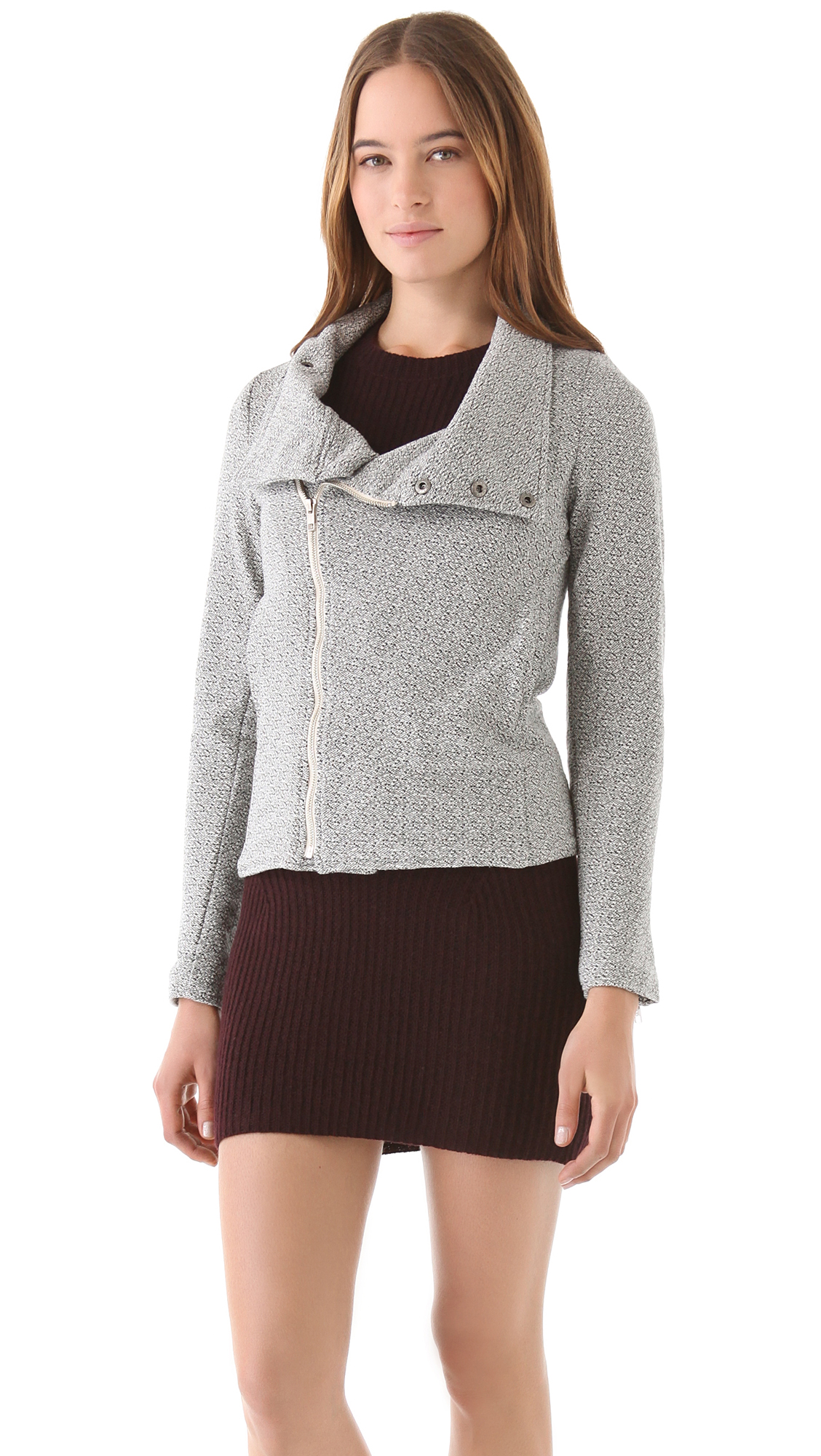 Monrow Knit Moto Jacket with Mock Neck in Beige (natural) | Lyst